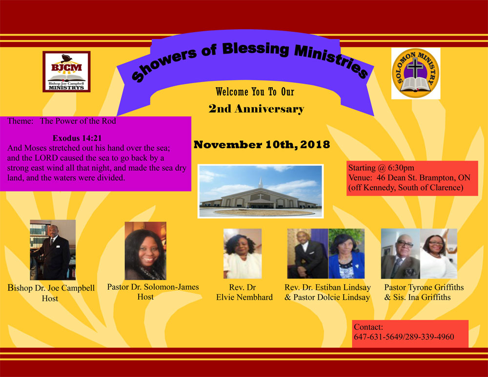 November 10th, 2018: 2nd Anniversary of Showers of Blessing Ministries