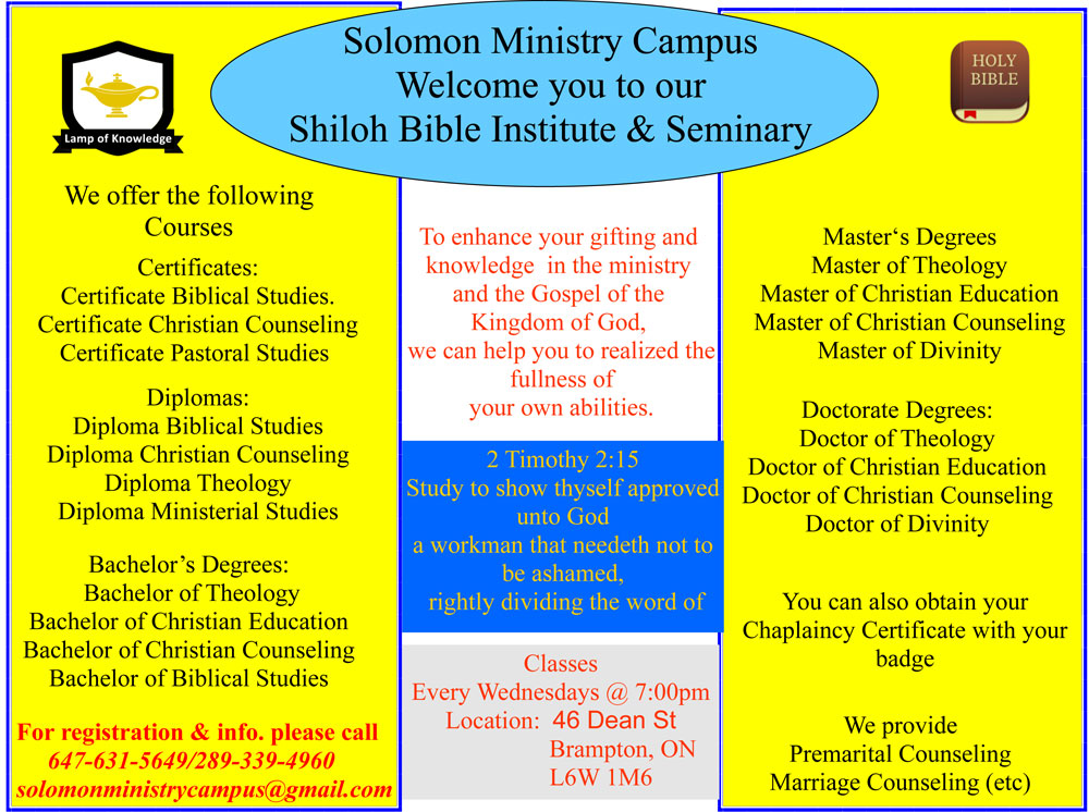 Shiloh Bible Institute and Seminary 2019