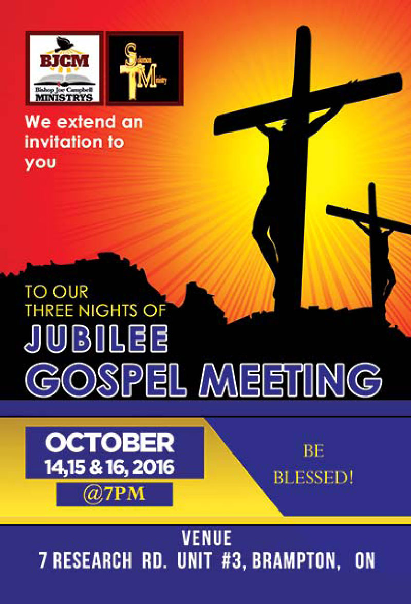 Three Nights of Jubilee Gospel Meeting October 14, 15 & 16, 2016 @7PM