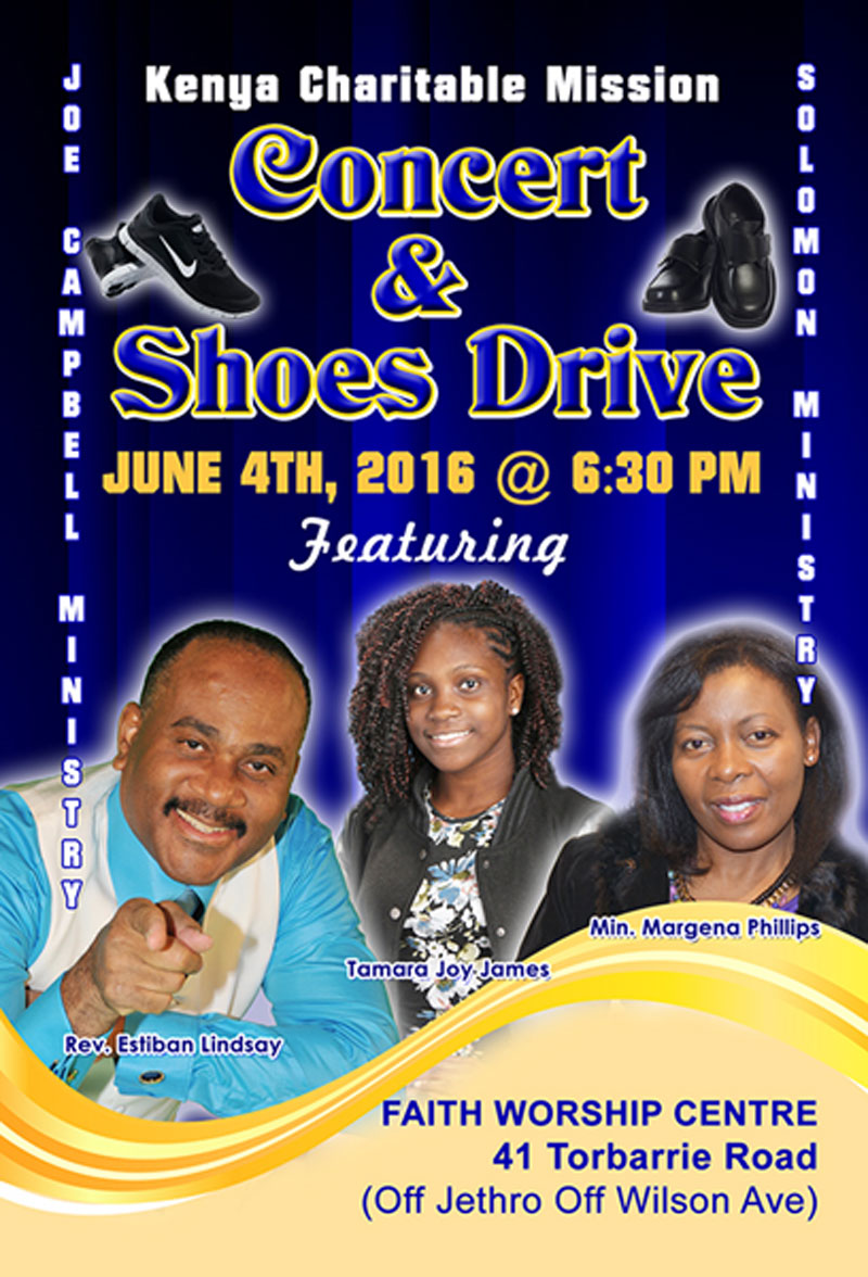 Kenya Charitable Mission Concert & Shoes Drive June 4th, 2016